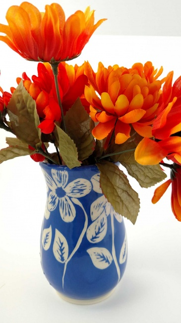 Vase - vivid blue with carved floral pattern